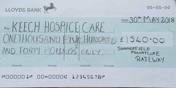 Cheque for the Keech Hospice